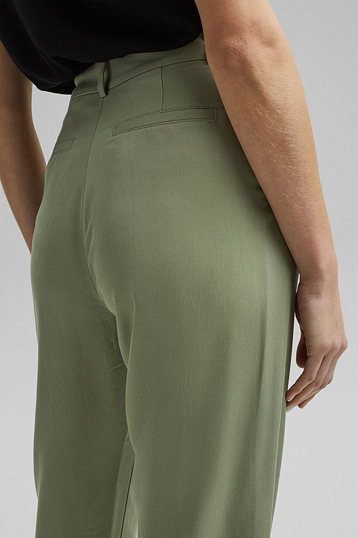 TENCEL™: flowy chinos made of blended viscose, LIGHT KHAKI, detail image number 5