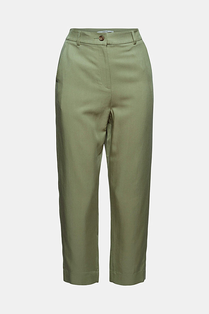 TENCEL™: flowy chinos made of blended viscose, LIGHT KHAKI, detail image number 6