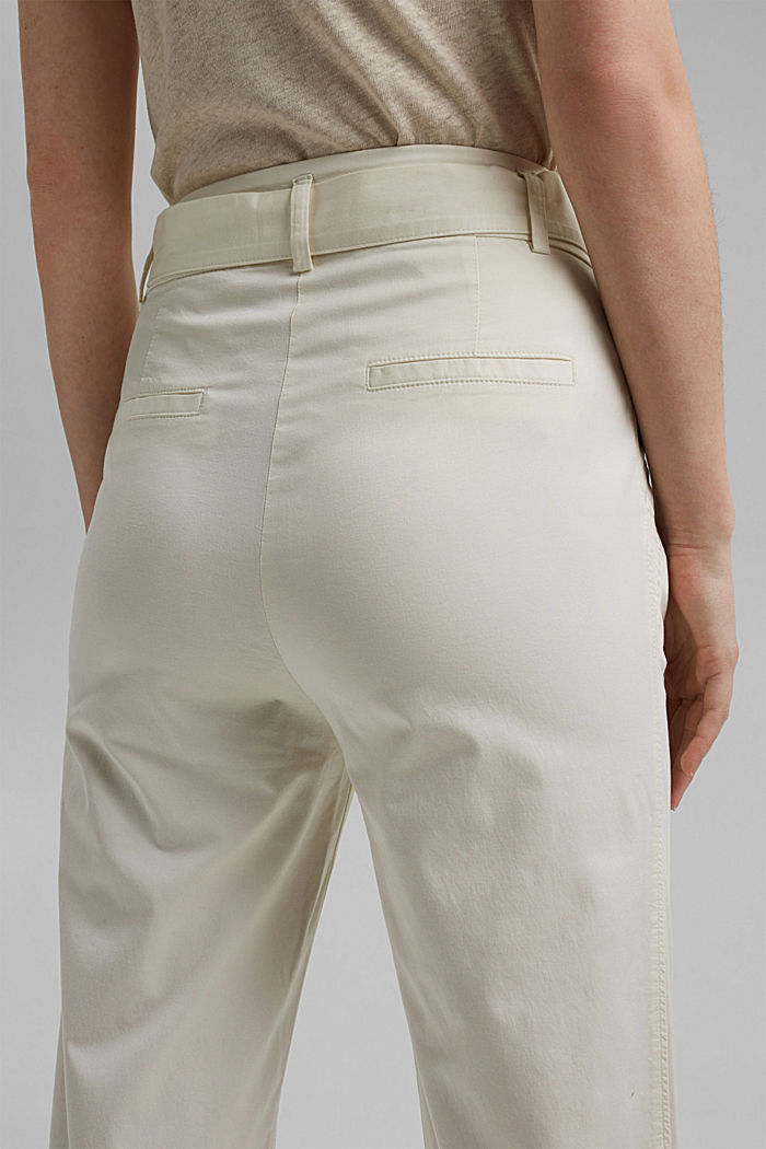 Paperbag trousers with added stretch and a belt, ICE, detail image number 5