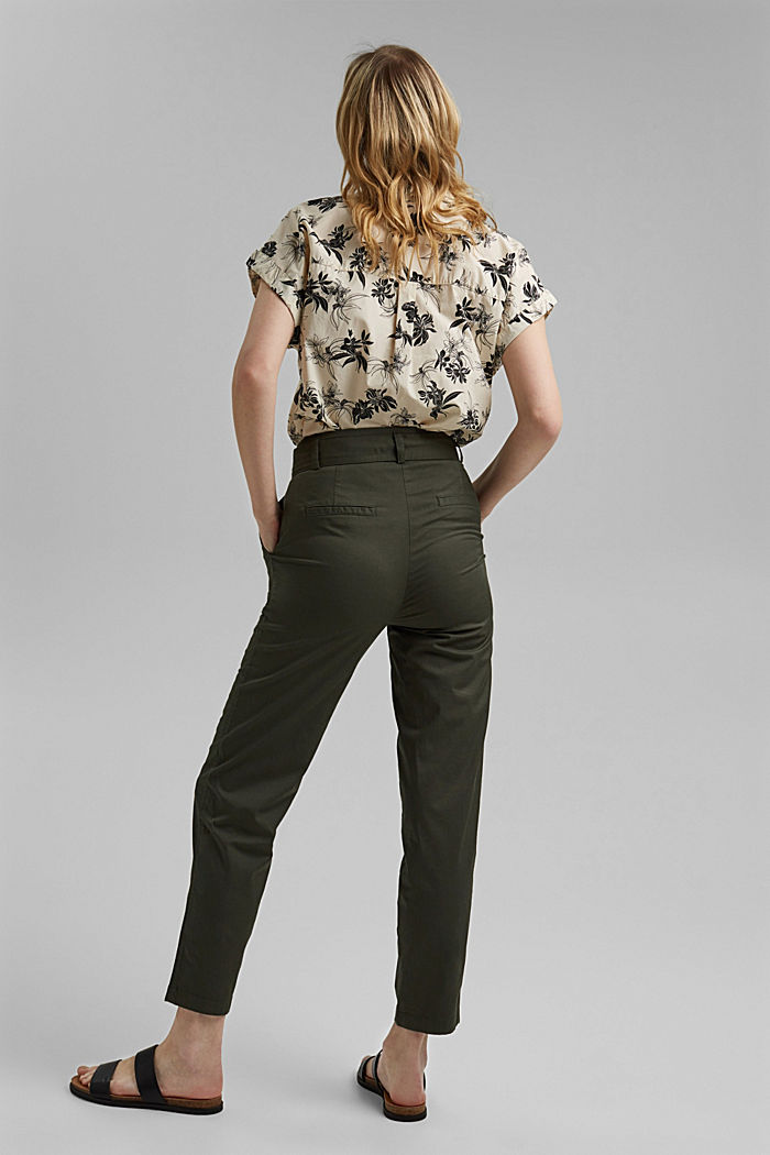 Paperbag trousers with added stretch and a belt, KHAKI GREEN, detail image number 3