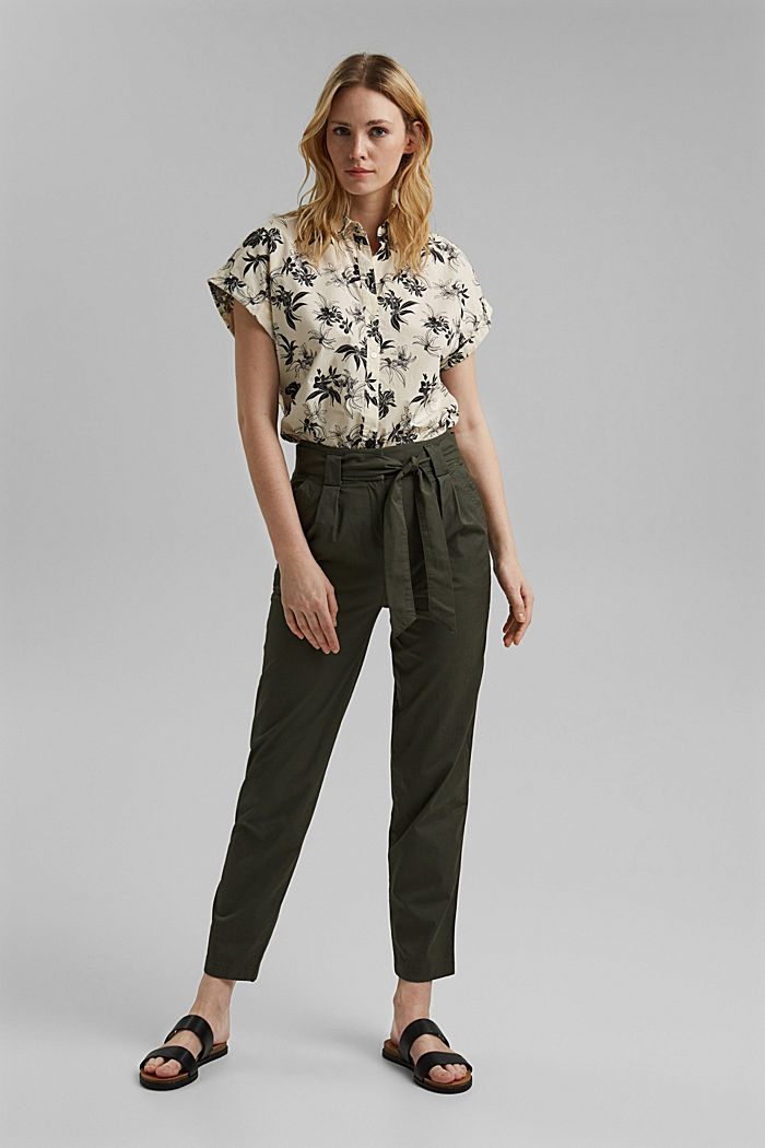 Paperbag trousers with added stretch and a belt, KHAKI GREEN, detail image number 1