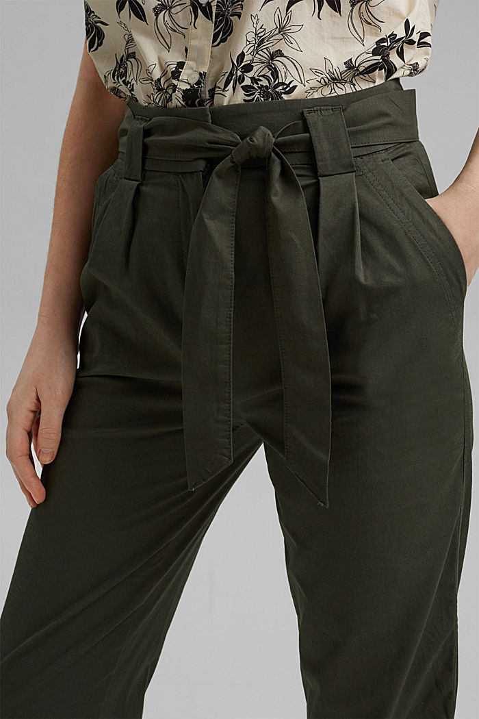 Paperbag trousers with added stretch and a belt, KHAKI GREEN, detail image number 2