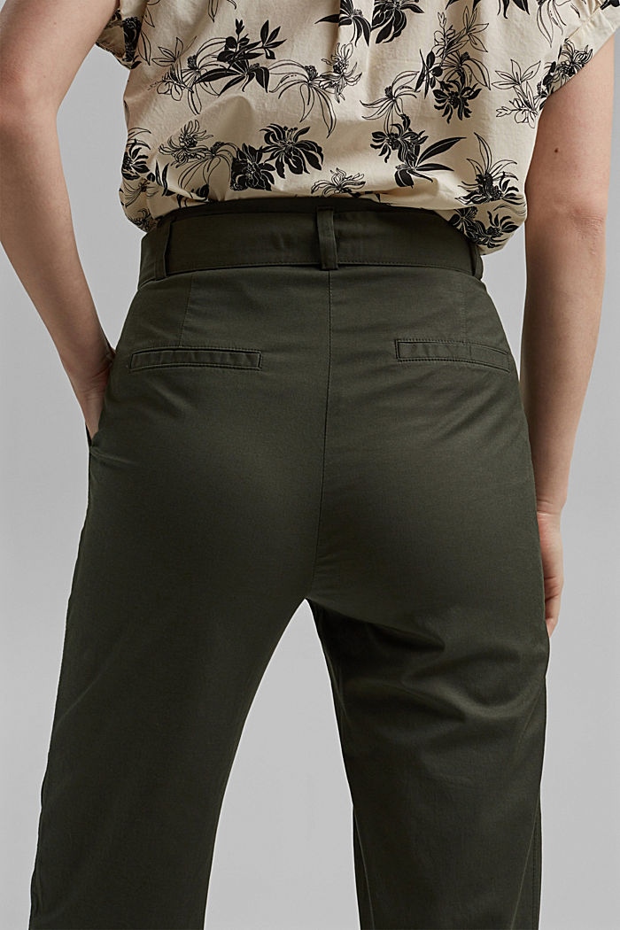Paperbag trousers with added stretch and a belt, KHAKI GREEN, detail image number 5