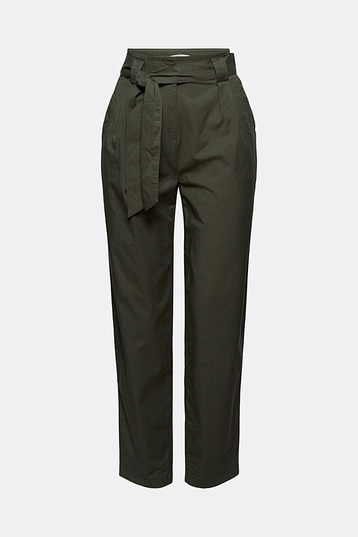 Paperbag trousers with added stretch and a belt, KHAKI GREEN, overview