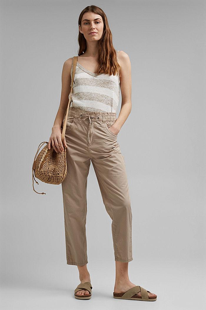 High-Rise-Hose aus 100% Bio-Baumwolle, BEIGE, detail image number 1