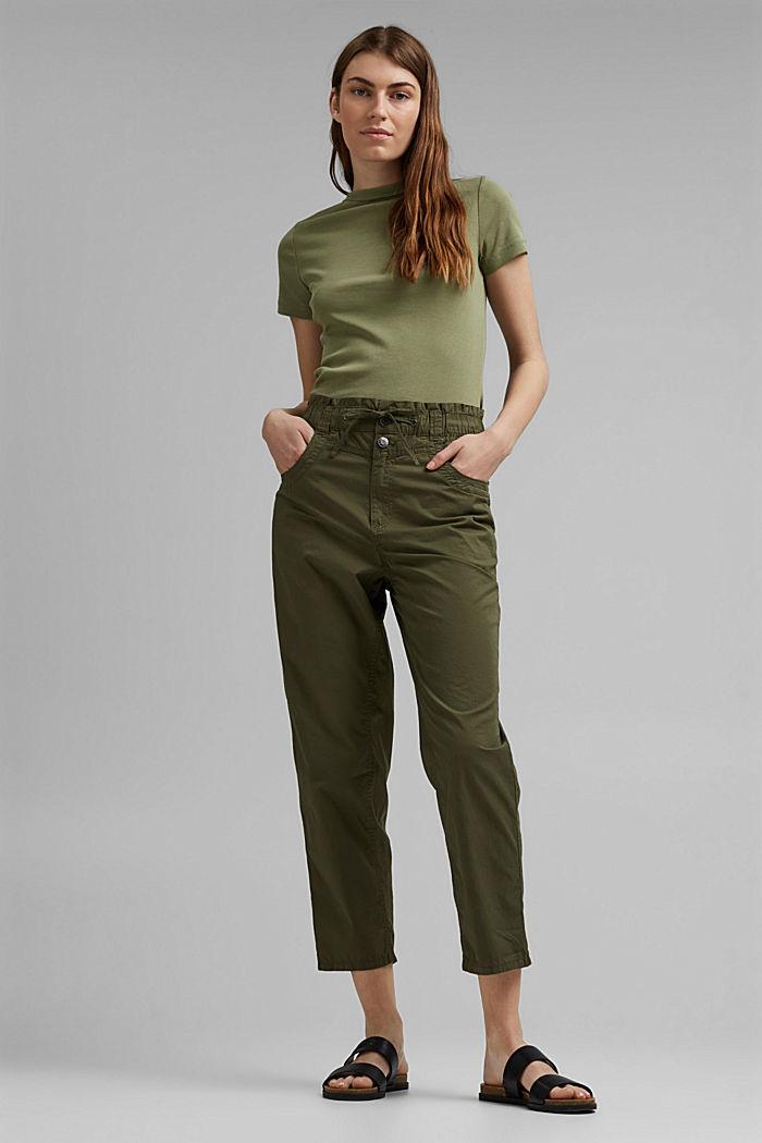 High-rise-broek van 100% biologisch katoen, KHAKI GREEN, detail image number 5