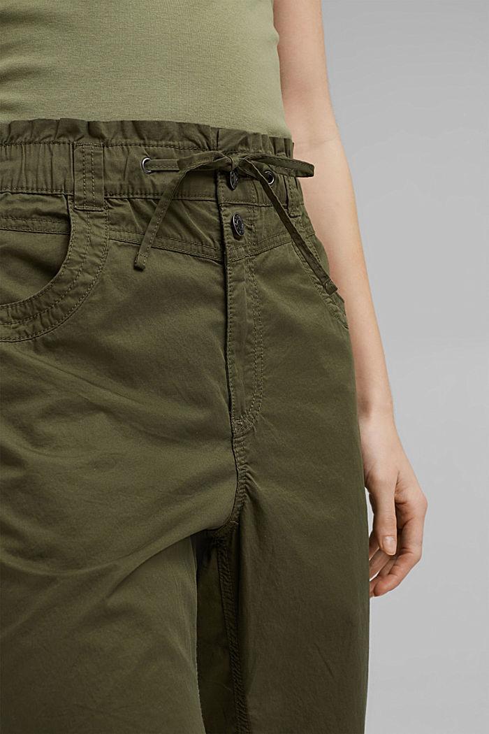 High-rise-broek van 100% biologisch katoen, KHAKI GREEN, detail image number 2