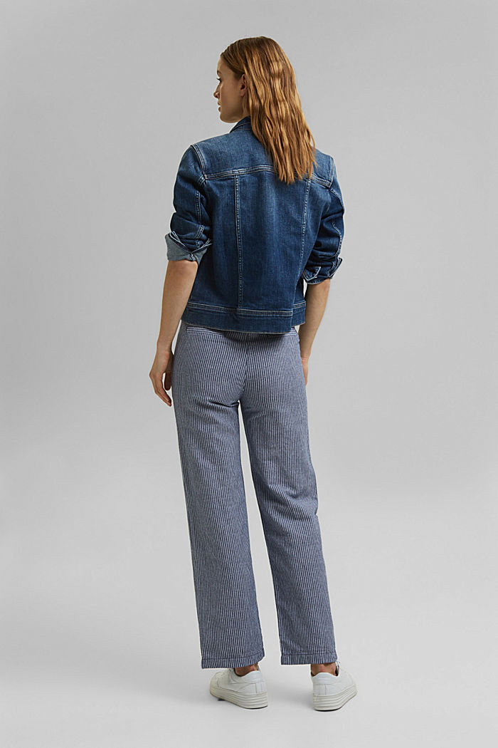 Linen blend: striped tracksuit bottoms, DARK BLUE, detail image number 3