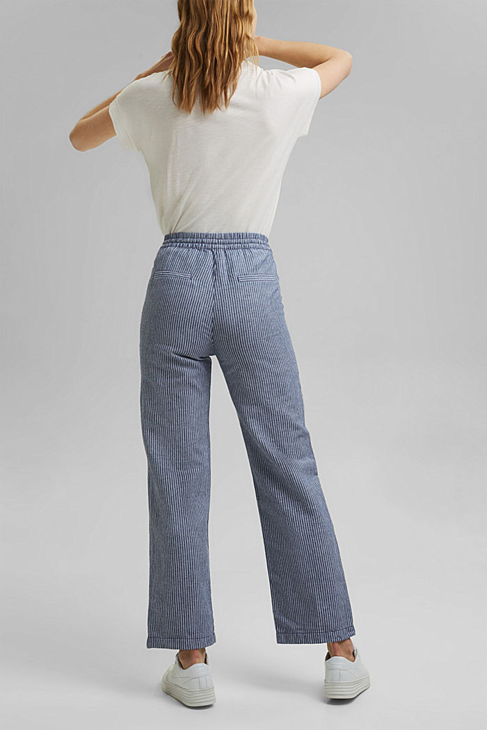 Linen blend: striped tracksuit bottoms, DARK BLUE, detail image number 6