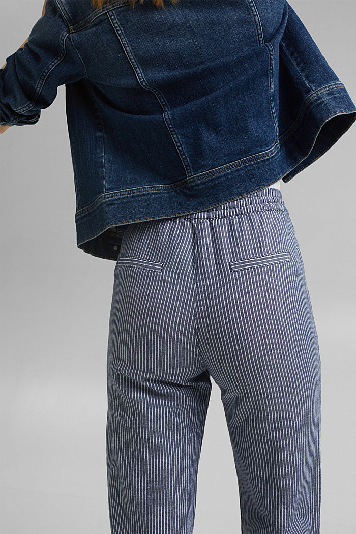 Linen blend: striped tracksuit bottoms, DARK BLUE, detail image number 5