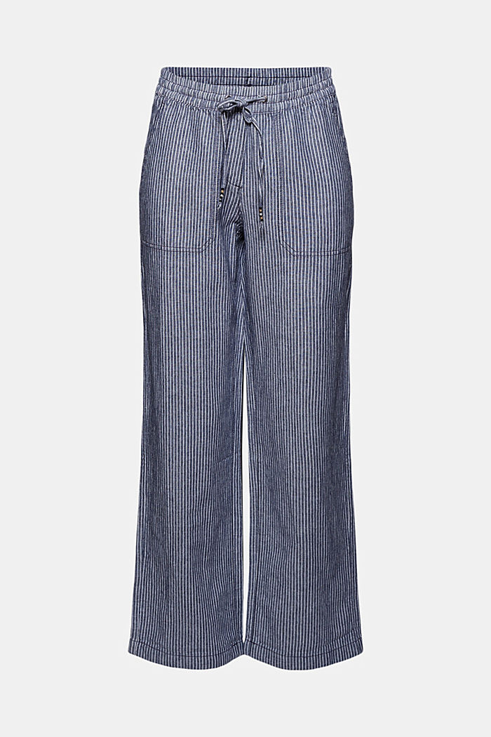Linen blend: striped tracksuit bottoms, DARK BLUE, detail image number 8