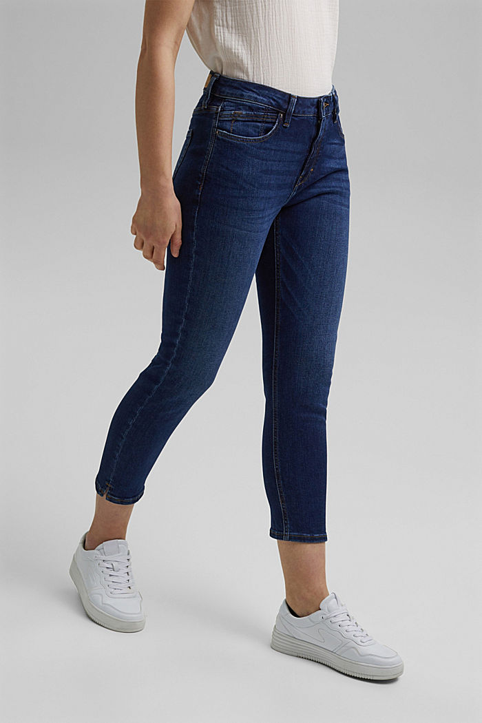 Organic cotton Capri jeans, BLUE DARK WASHED, detail image number 0