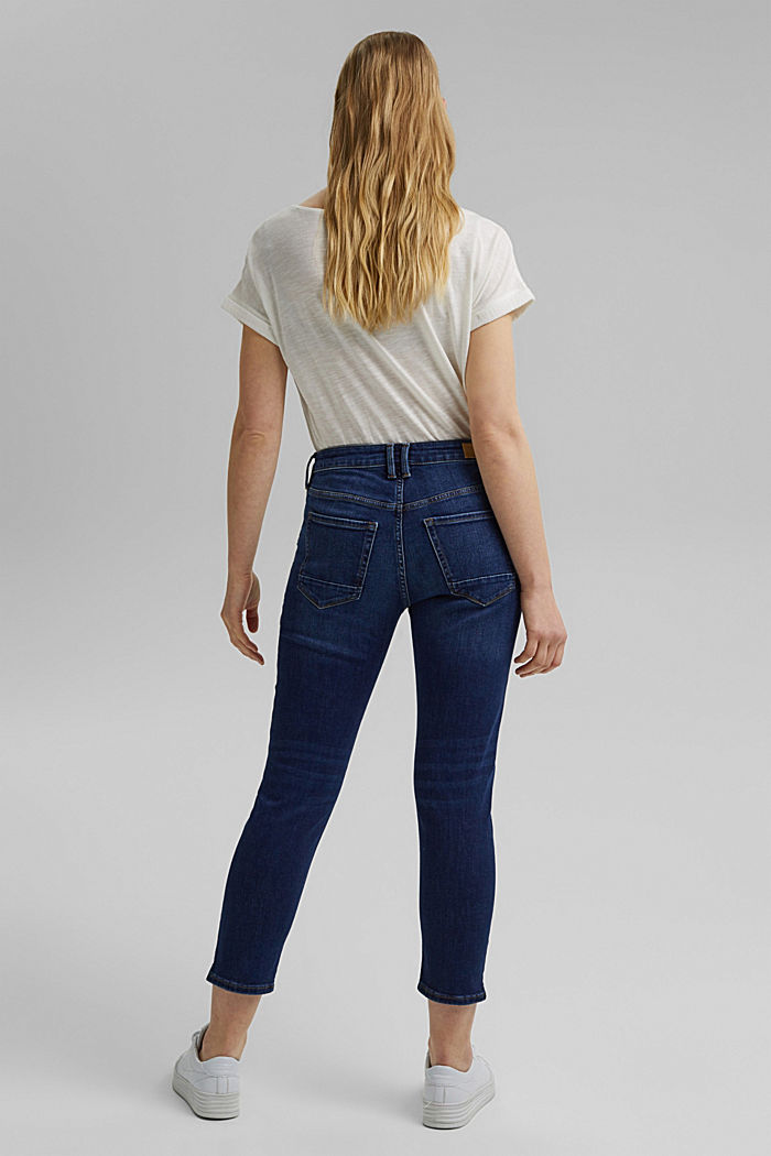 Organic cotton Capri jeans, BLUE DARK WASHED, detail image number 3