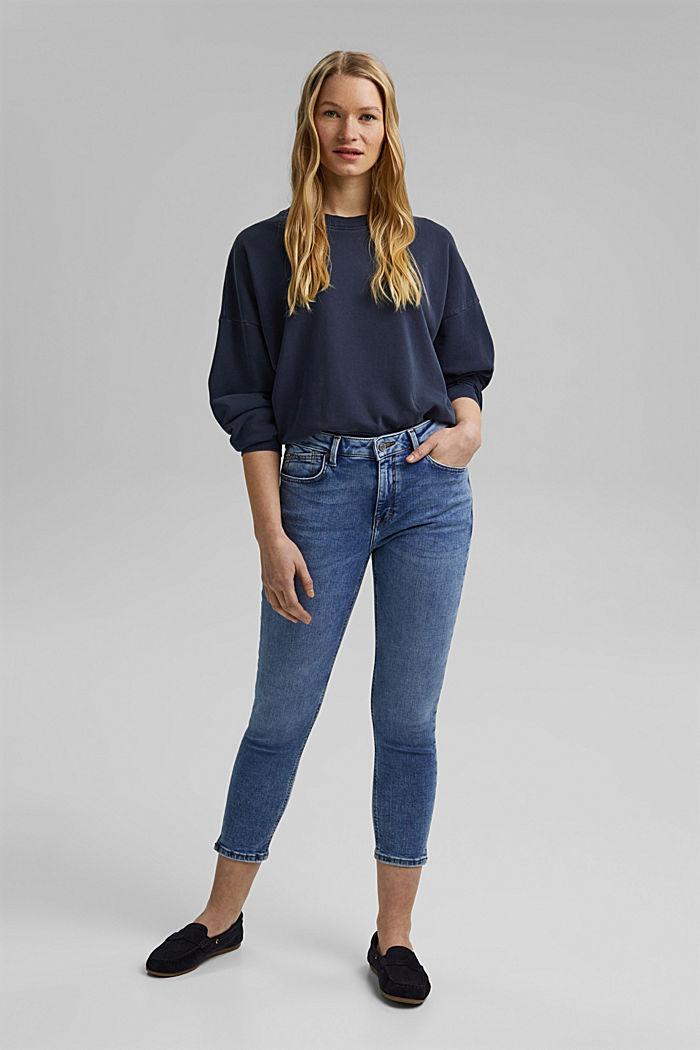 Capri-jeans van biologisch katoen, BLUE MEDIUM WASHED, detail image number 1