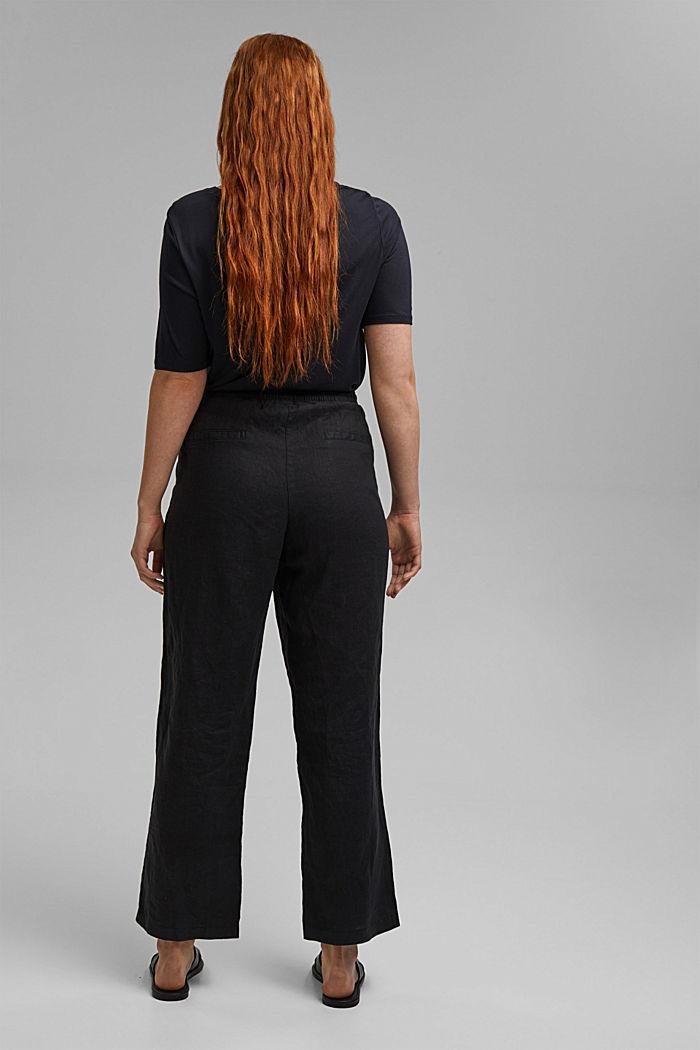 100% lnu: spodnie z elastycznym pasem, BLACK, detail image number 3