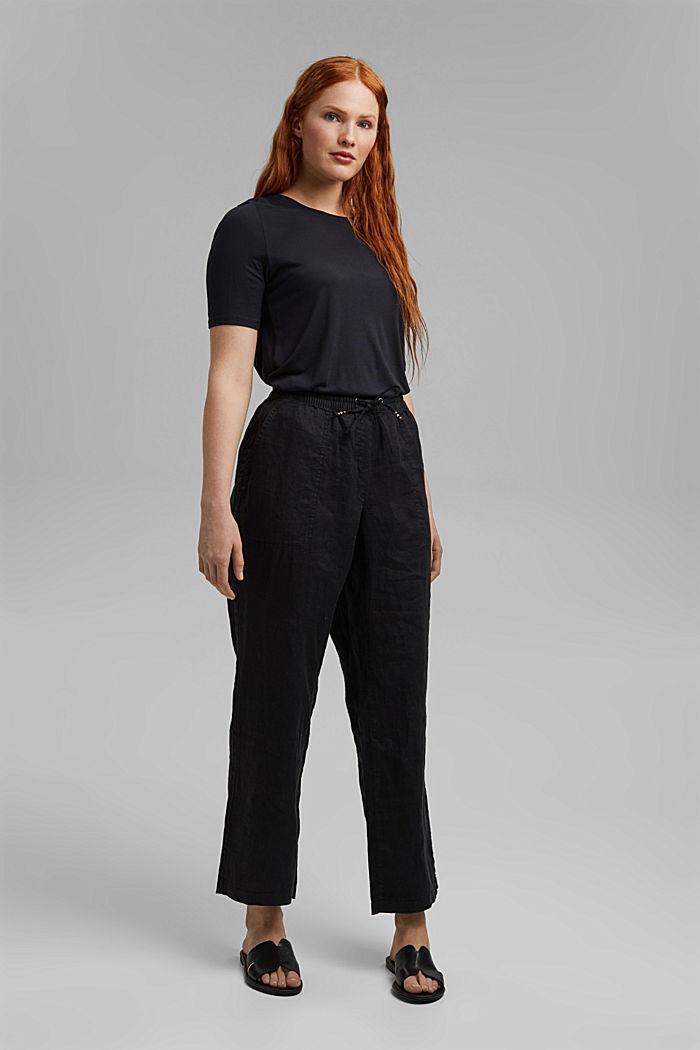 100% lnu: spodnie z elastycznym pasem, BLACK, detail image number 6
