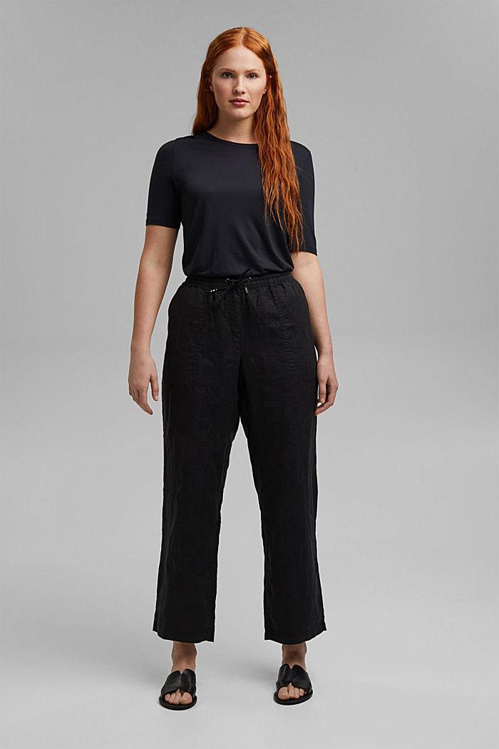 100% lnu: spodnie z elastycznym pasem, BLACK, detail image number 1