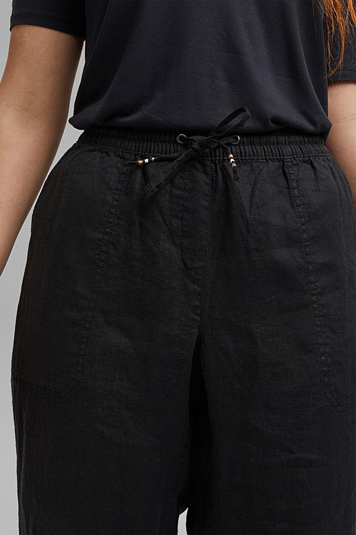 100% lnu: spodnie z elastycznym pasem, BLACK, detail image number 2