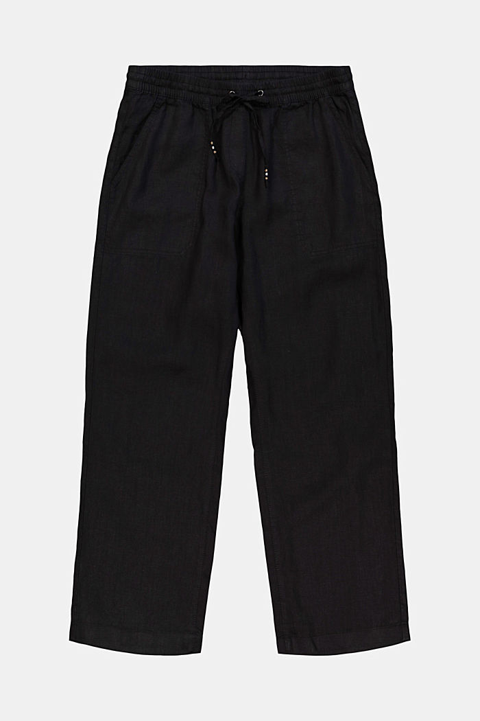 Made of 100% linen: trousers with an elasticated waistband
