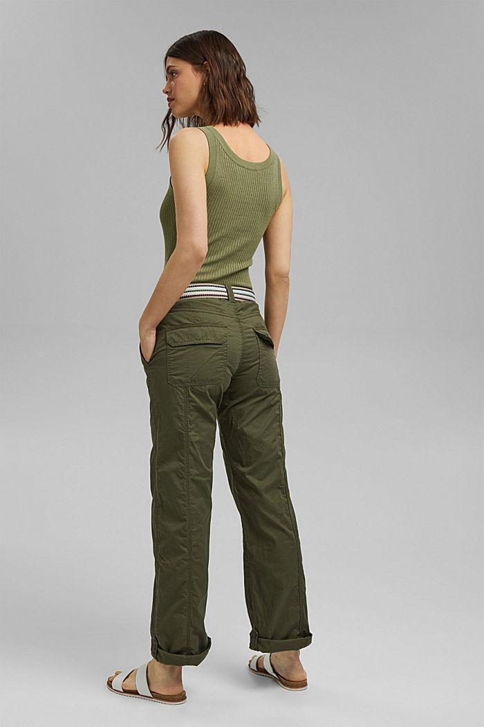 PLAY-broek met riem, organic cotton, KHAKI GREEN, detail image number 3