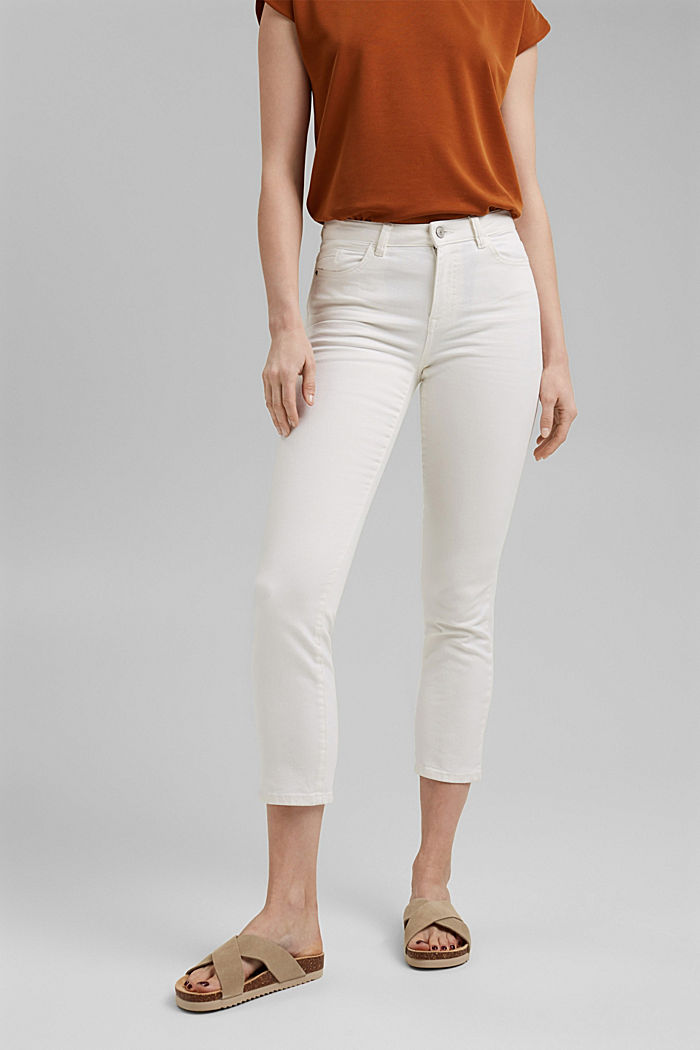 Cropped trousers with straight legs, OFF WHITE, detail image number 0