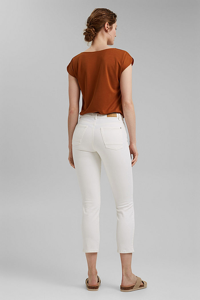 Cropped trousers with straight legs, OFF WHITE, detail image number 3