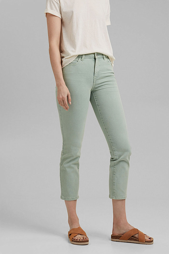 Cropped trousers with straight legs, LIGHT AQUA GREEN, detail image number 0