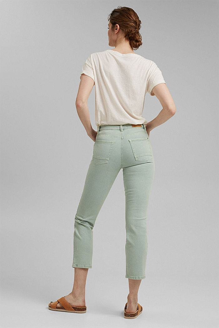 Cropped trousers with straight legs, LIGHT AQUA GREEN, detail image number 3