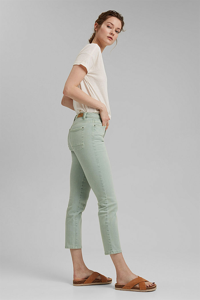 Cropped trousers with straight legs, LIGHT AQUA GREEN, detail image number 5
