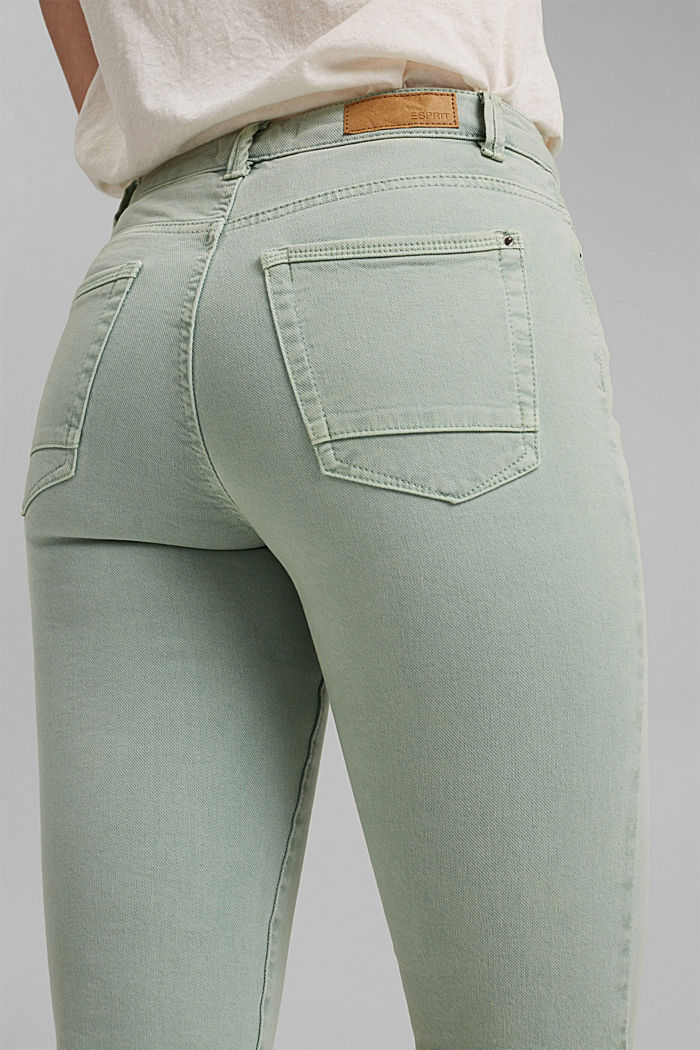 Cropped trousers with straight legs, LIGHT AQUA GREEN, detail image number 6