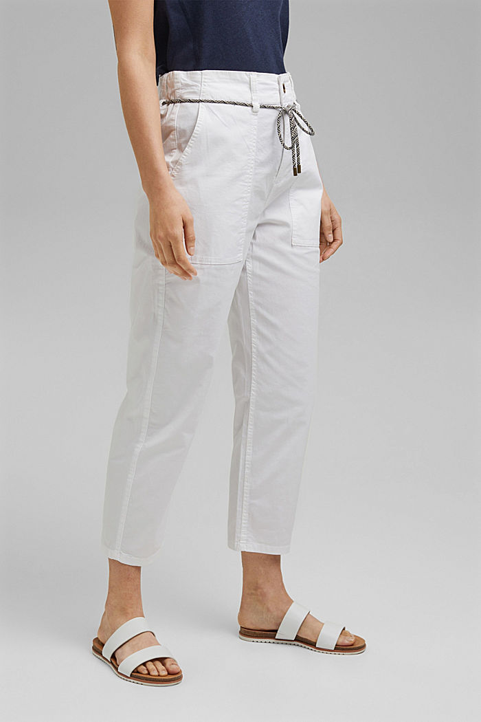 Pima cotton utility trousers with a belt, WHITE, detail image number 0