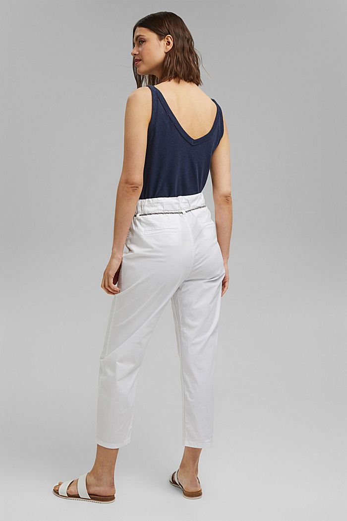 Pima cotton utility trousers with a belt, WHITE, detail image number 3