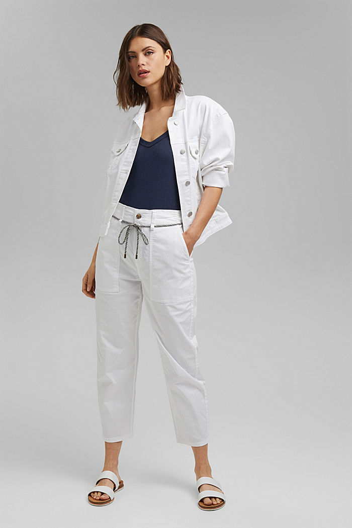 Pima cotton utility trousers with a belt, WHITE, detail image number 1