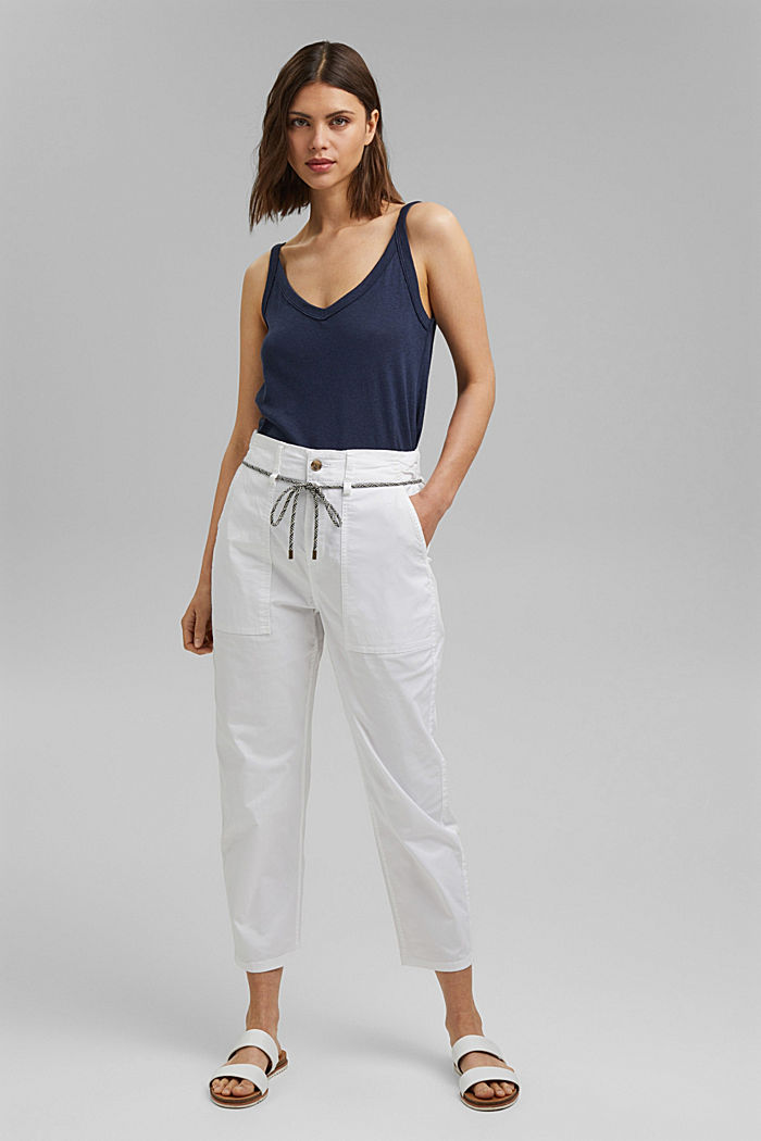 Pima cotton utility trousers with a belt, WHITE, detail image number 6