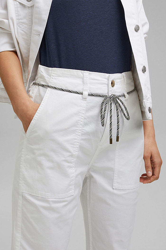 Pima cotton utility trousers with a belt, WHITE, detail image number 2