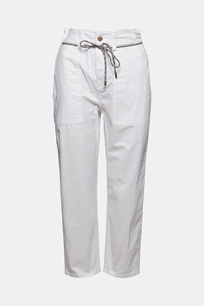 Pima cotton utility trousers with a belt, WHITE, detail image number 7