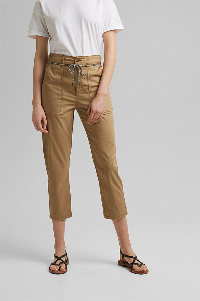 Pantalon Utility ceinturé, coton Pima, CAMEL, detail image number 0