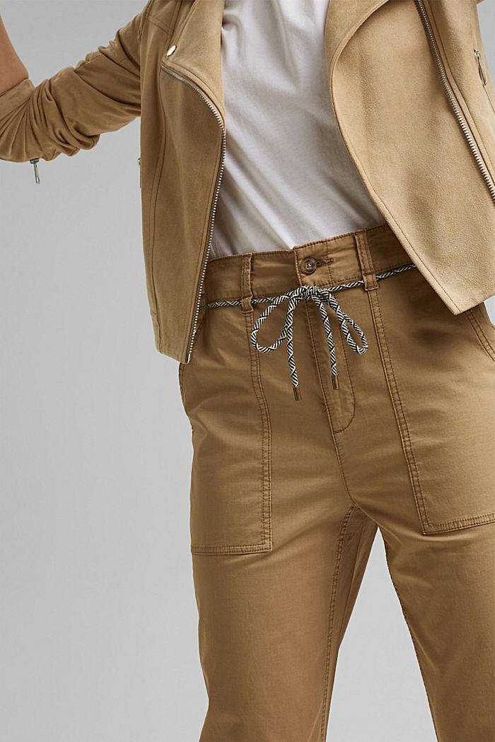 Pantalon Utility ceinturé, coton Pima, CAMEL, detail image number 2