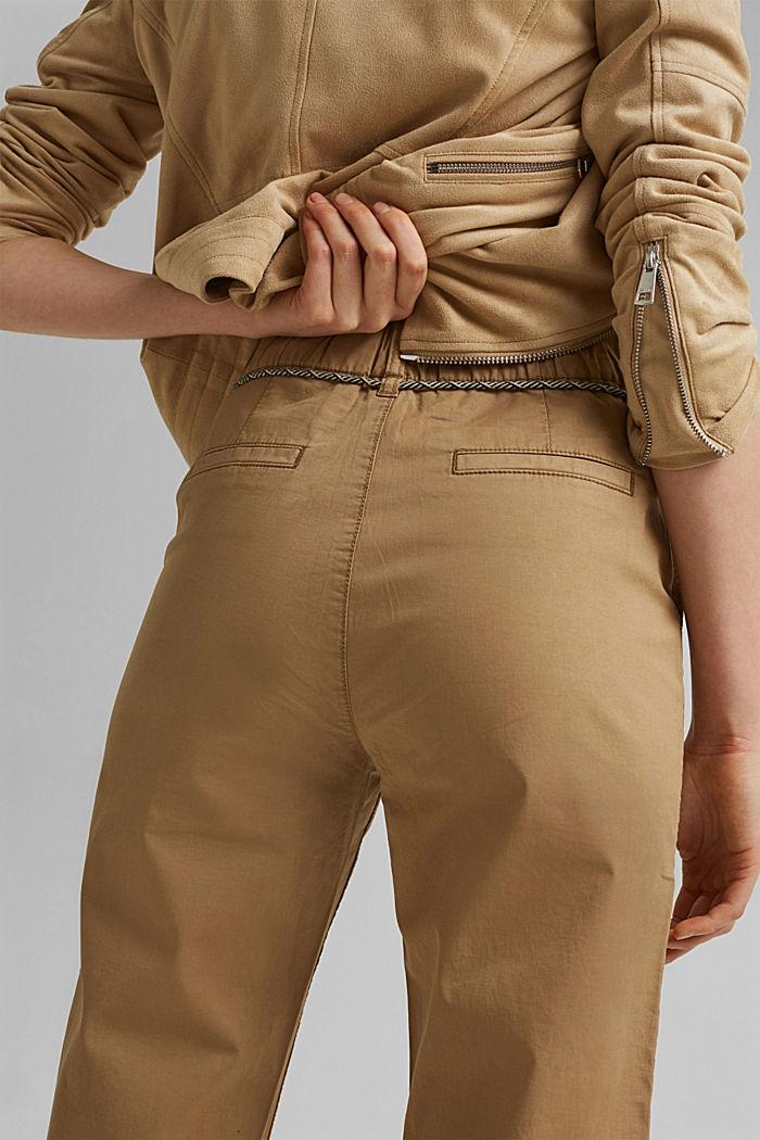 Pantalon Utility ceinturé, coton Pima, CAMEL, detail image number 5