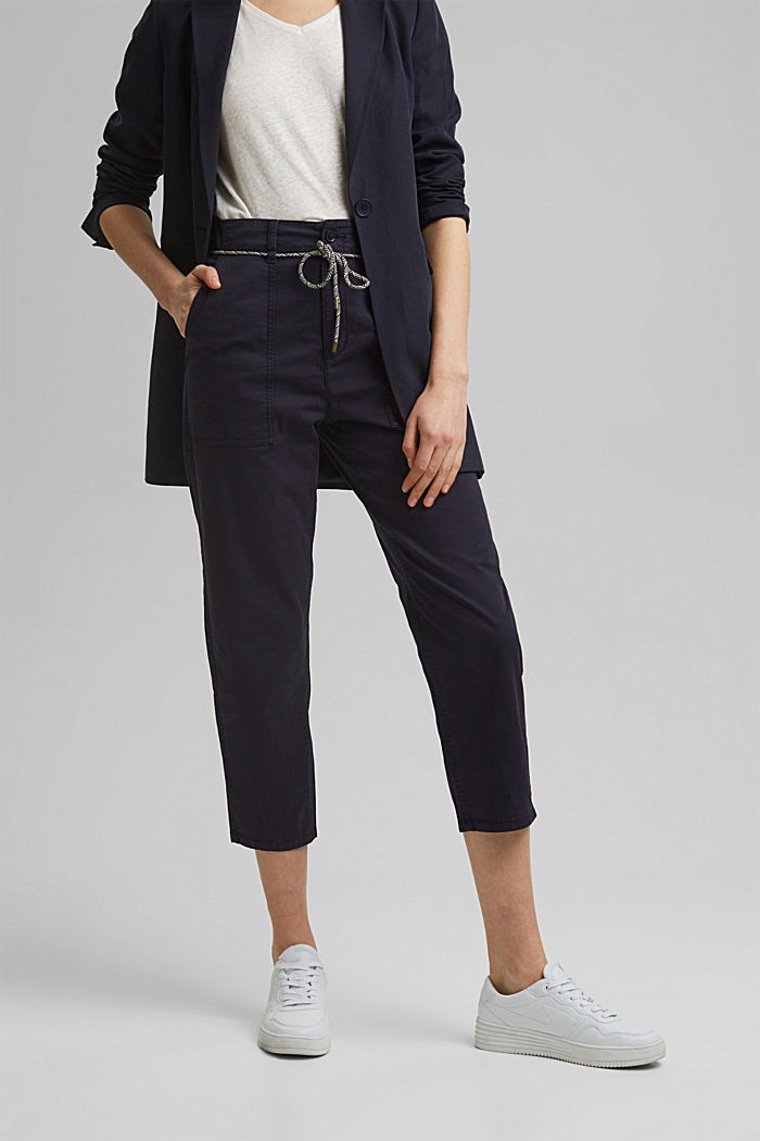 Pima cotton utility trousers with a belt, NAVY, detail image number 0