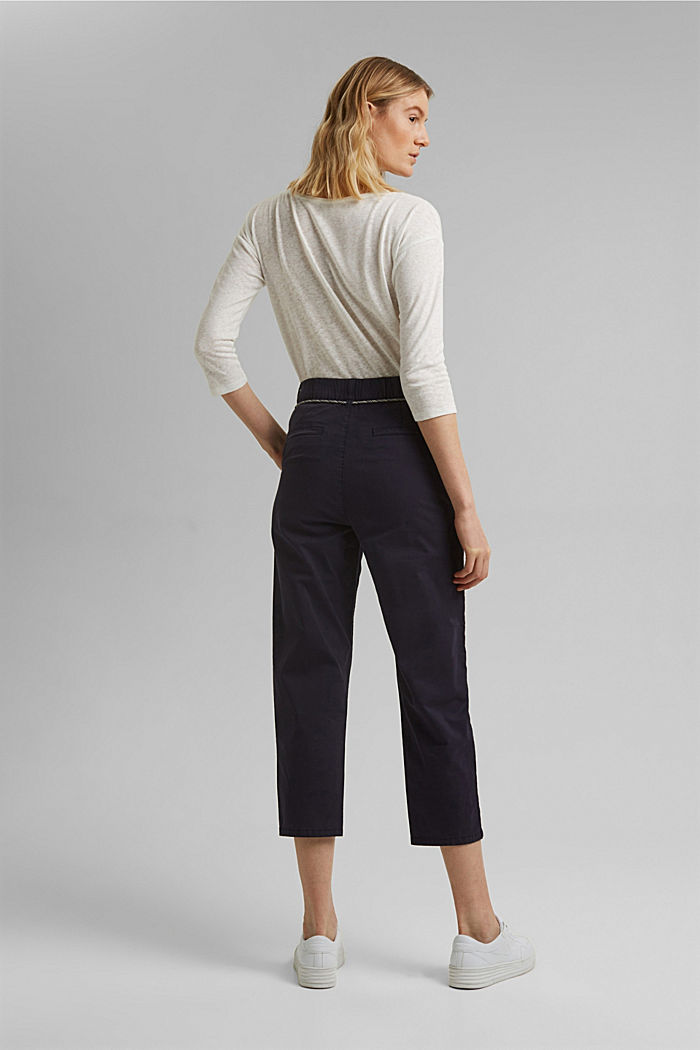 Pima cotton utility trousers with a belt, NAVY, detail image number 3