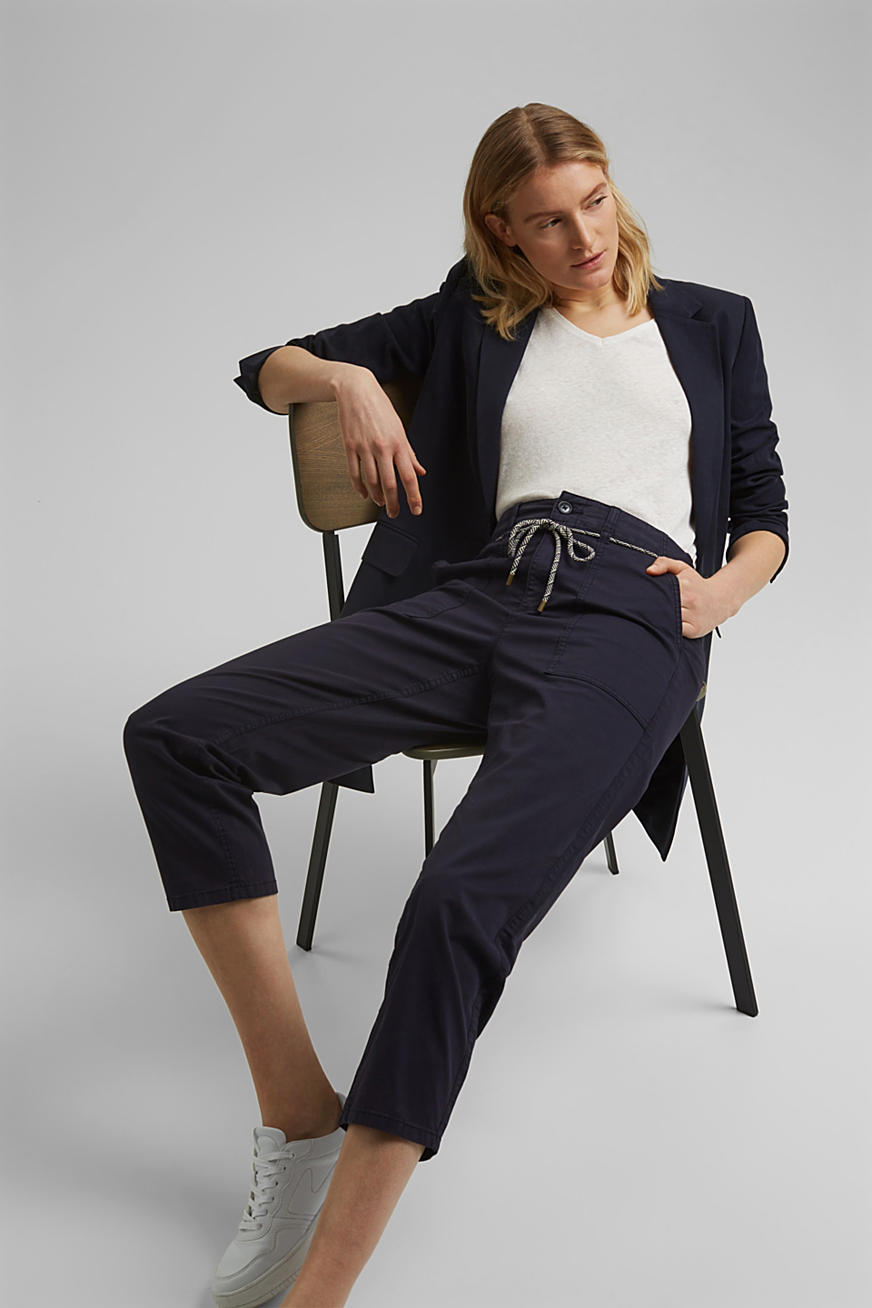 Pima cotton utility trousers with a belt