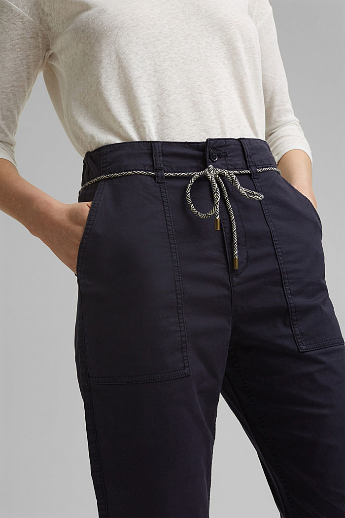 Pima cotton utility trousers with a belt, NAVY, detail image number 2