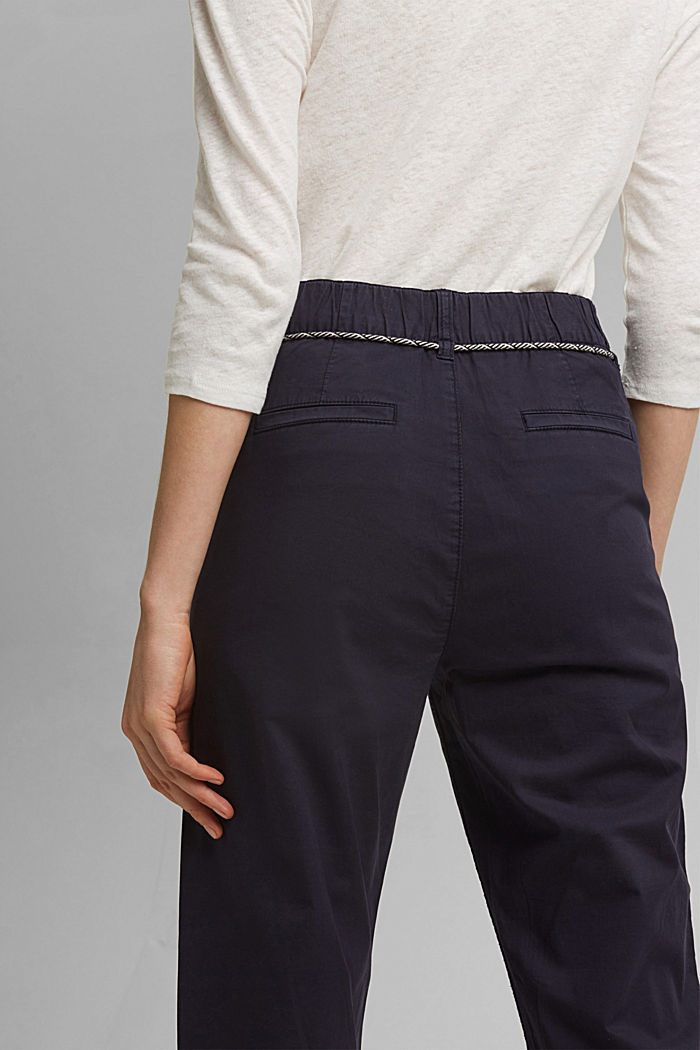 Pima cotton utility trousers with a belt, NAVY, detail image number 5