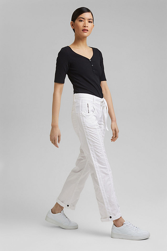 PLAY cargo trousers, 100% organic cotton, WHITE, detail image number 1