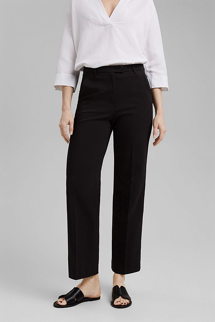 Pantalon business en coton mélangé, BLACK, detail image number 0