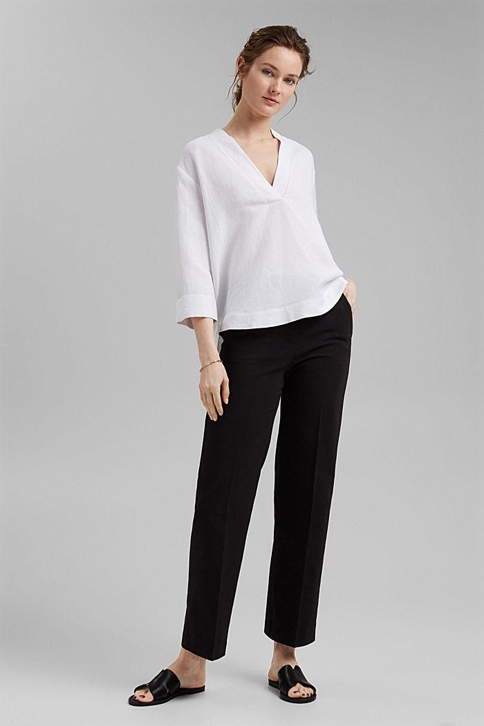 Pantalon business en coton mélangé, BLACK, detail image number 1