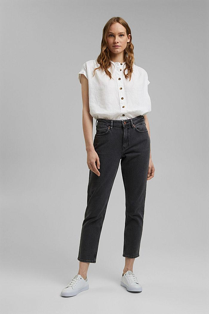 High-Rise-Jeans in 7/8-Länge, Bio-Baumwolle, BLACK DARK WASHED, detail image number 1