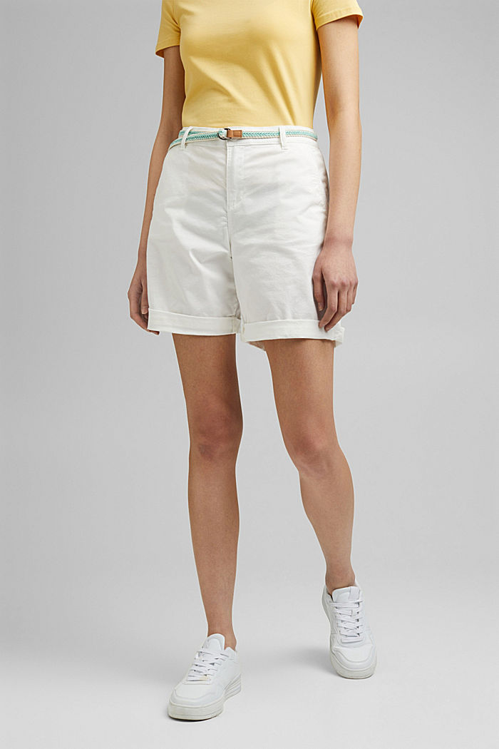 Stretch cotton Bermudas with a belt, WHITE, detail image number 0