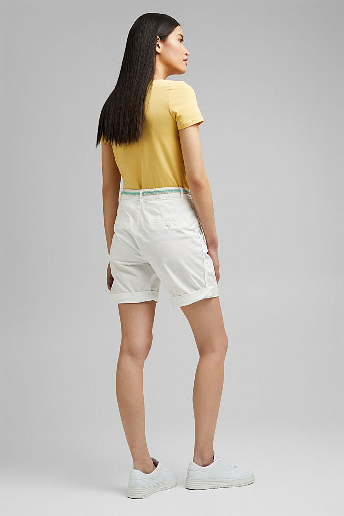 Stretch cotton Bermudas with a belt, WHITE, detail image number 3